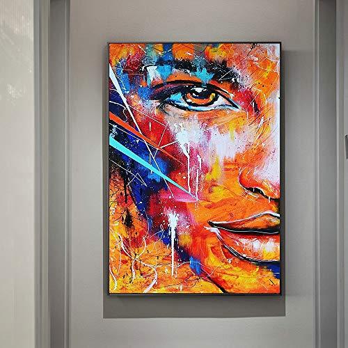 N / A Feuer abstrakte halbe Gesicht Leinwandbilder Moderne Graffiti Kunst Leinwand Bilder für Wohnzimmer Wanddekoration Poster und Drucke 40x60 cm ohne Rahmen