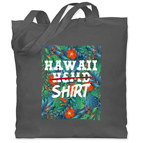 Karneval & Fasching - Hawaii Hemd Shirt - Unisize - Dunkelgrau - Geschenk - WM101 - Stoffbeutel aus Baumwolle Jutebeutel lange Henkel
