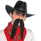 """Amscan 840905 Long Black Cowboy Moustache, 1 Piece ,7.6"""" x 5.4"""""""