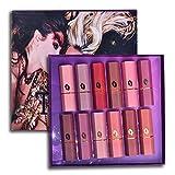 Set de lápiz labial mate Fashion de 12 colores, bálsamo labial hidratante mate, duradero, mantener un hermoso maquillaje, agregar un sentido de la moda, adecuado para salidas y fiestas