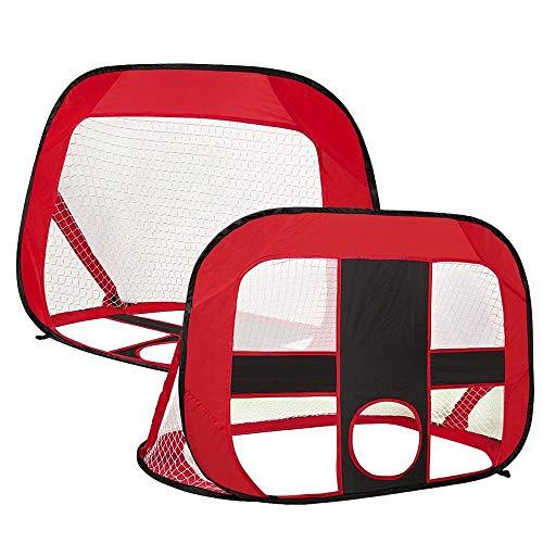 Stabilna Konstrukcja Pop Up Football Cele Składane i przenośne Soccer Bramka Dzieci Outdoor Garden Toy Trwała Bramka do Piłki Nożnej (Color : Red, Size : 120x85x85cm)
