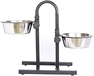Smarty Pet Adjustable Stainless Steel Double Diner Food & Water Feeding Bowls for Dogs & Puppies (Set of 2 Bowls with U-St...