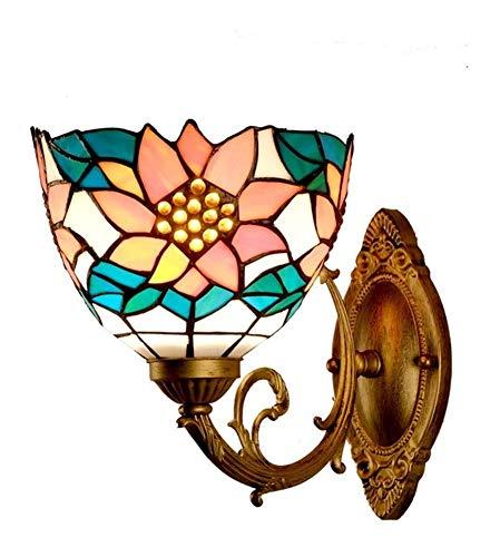 WANG XIN Wandleuchte-Blumen-Art Tiffany-Lampe Buntglas for Wohnzimmer Essbar Schlafzimmer Nacht Study Aisle Sconce Wandleuchte Industrie Retro E27