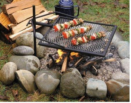 Mustang mobiler Grillrost mit Erdspieß 79cm | Outdoor Grill | Grillfläche 40x40cm | für Feuerschale geeignet