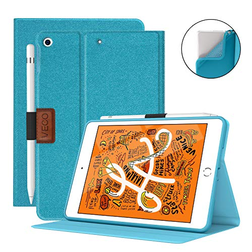 Veco iPad Mini 5 Case with Pencil Holder,Denim Series - Premium Shockproof Case with Auto Sleep/Wake Feature for iPad Mini 5th Generation Case (Blue)
