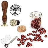 Mogoko Sigillo + Ceralacca in forma di Stella + Cera + Cera Stick Spoon Francobolli Vintage Kit per Lettera Personalizzata Timbri Personali REGALO SET - Rosso