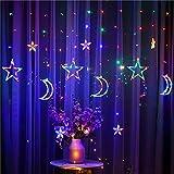 Ibello Cortina de luces, estrellas y lunas, cadena de luces LED, 3,5 m, con enchufe, 8 modos de iluminación, decoración interior, multicolor, funciona con electricidad, ideal para ventanas