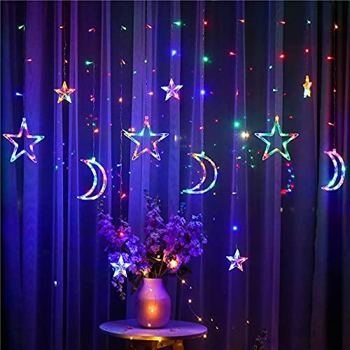 Lichterkette Sterne Mond Lichtervorhang Fenstervorhang Lichter 3,5m 8 Modi Girlande Dekorative Lampe Strombetrieben mit Stecker,für Fenster Tür Partys Schlafzimmer Hochzeit (Bunt)