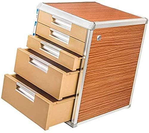 Armadietto di archiviazione, file rivista 5a piano in lega di alluminio + tavola di legno cassetto cabinet unità forniture per ufficio forniture di carta sorter armadio storage manager (grano legno, a