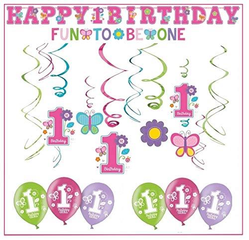 Libetui Geburtstag Dekoration Deko-Set 'Stern' Kindergeburtstag Happy Birthday Bunte Partykette farbenfrohe Girlande Spirale Luftballons und Geburtstags-Kerzen (1. Geburtstag Mädchen)