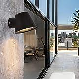 Aplique Diseño Moderno Exterior pared de Terraza Led Aluminio Antracita Jardin Con Gu10 Bombilla,Farol Foco Redondo Negro Clasico Interior Estanco por Terraza,Baño,Espejo,Cabecero,Cocina,Cuadro