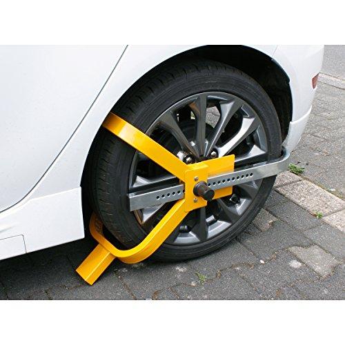 ECD Germany Radkralle Diebstahlsicherung - für 13-17 Zoll Räder - aus Stahl - inkl. 2 Schlüsseln - Parkkralle Reifenkralle Lenkradsperre Wegfahrsperre Radsicherung Radschloss PKW Auto