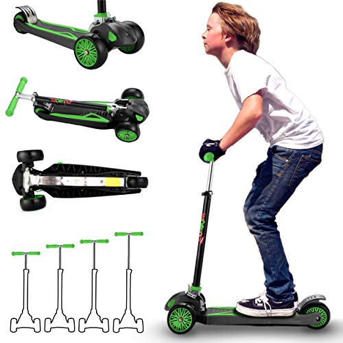 Scooter for Kids, Maxi Foldable Kick Scooter Deluxe, Handlebars adjustability from Age 5-12, Surface-Safety Balance Technology, 2' Width x 3 Wheels,