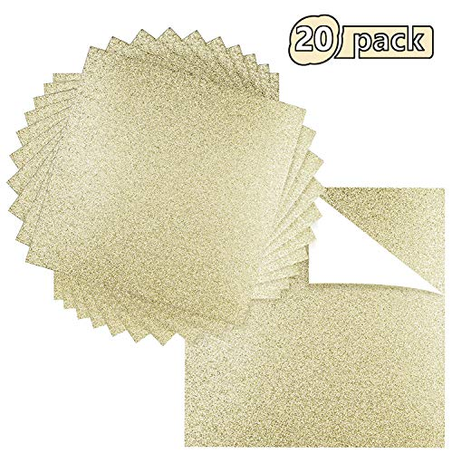 "Ground Up Creations Premium 20 Sheets Glitter Cardstock 12"" x 12"" - Use For Scrapbooking - Holidays - Weddings - Birthdays - Parties - 300GSM For Paper Cutting Bending Or Shaping (Gold, 20 Pack)"