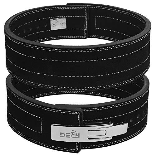 DEFY Power Lifting Belt Lever Buckle Genuine Leather 10MM Gym Training Exercise Belt Black (Medium)