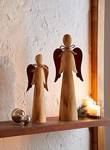2 Deko Engel aus Holz, Natur/Rost Optik, 28 + 38 cm hoch, Adventsdeko, Weihnachtsdeko-Figur