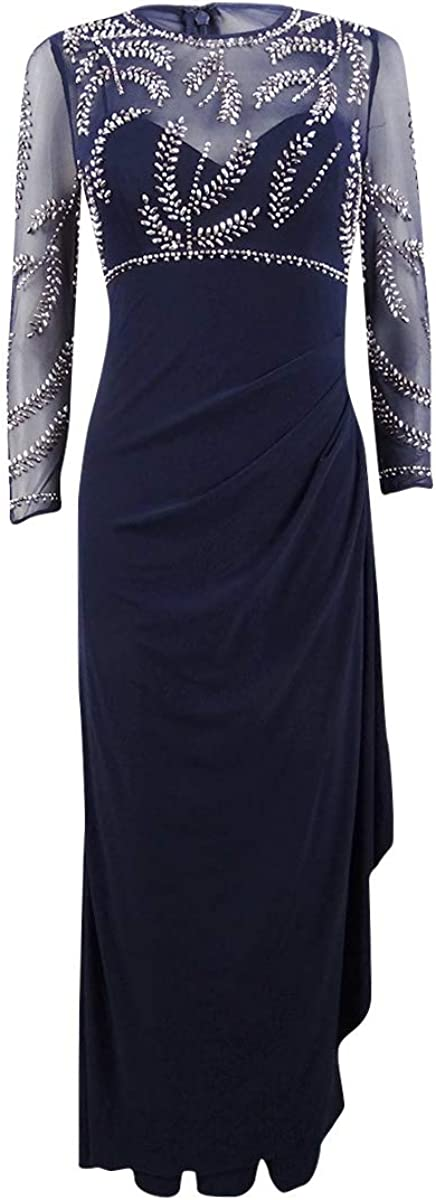 BETSY & ADAM Women's Petite Beaded Mesh Ruched Ball Gown Dress