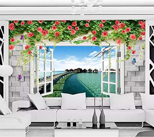 XUNZHAOYH 3D Wallpaper Wandbild,Angepasste Wallpaper 3D Stereo Wandmalereien Mediterrane Fenster Außerhalb Landschaft Tv Hintergrund Tapete Papel De Parede,140(B) X70,5Cm(H)(4.2X2.3) Ft
