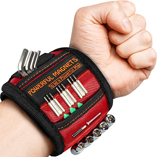 Magnetic Wristband, Perfect Valentines Day Gifts for Him, Tool Belt Magnetic Wristband for Holding Screws, Nails, Drill Bits, Cool Gadgets for Men, Women, Dad, Husband, Carpenters