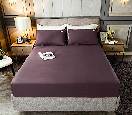 HPPSLT Protector de colchón, algodón, poliéster, Sábana de Cama Color Puro algodón-Violeta_150cm × 190cm