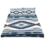 Juego de Funda nórdica de Colores Azules Tribal Seamless Navajo Decorativo Juego de Ropa de Cama de 3 Piezas con 2 Fundas de Almohada Fácil Cuidado Anti-alérgico Suave Suave