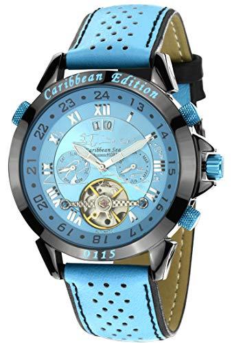 Calvaneo 1583 Herren-Armbanduhr Astonia Caribbean Edition Analog Automatik Leder blau 107629