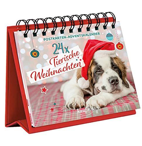 24 x Tierische Weihnachten: Postkarten-Adventskalender (Adventskalender für Erwachsene: Ein Aufstell-Buch)