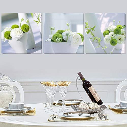 jjshily Arte De La Pared Lienzo Impresiones En HD Carteles Decoración para El Hogar Fotos 3 Piezas Flores Blancas Y Verdes Plantas De Maceta Sala De Estar, 50X70