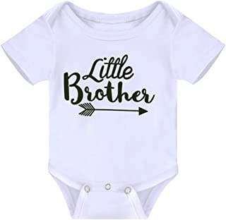Toddler Girls Big Sister T Shirt Matching Little Brother Baby Bodysuits White (0-6M Little Brother)