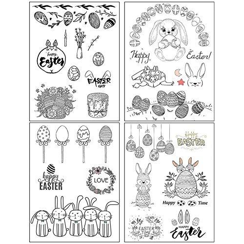 ESHOWEE Silikonstempel Ostern, 4 Blätter Clearstamp Ostern, Frohe Ostern Stempel, Clearstempel Scrapbooking Album Karten DIY