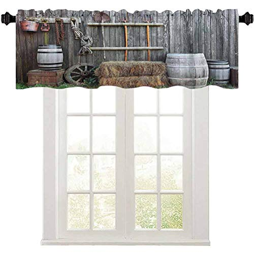 "Elegant Window Valance, Western Wooden Barn Countryside Bucolic Rural House Folk Vintage Scenery, 1 Panel 42"" x 18"" Rod Pocket Valance Curtain Panels for Small Window"