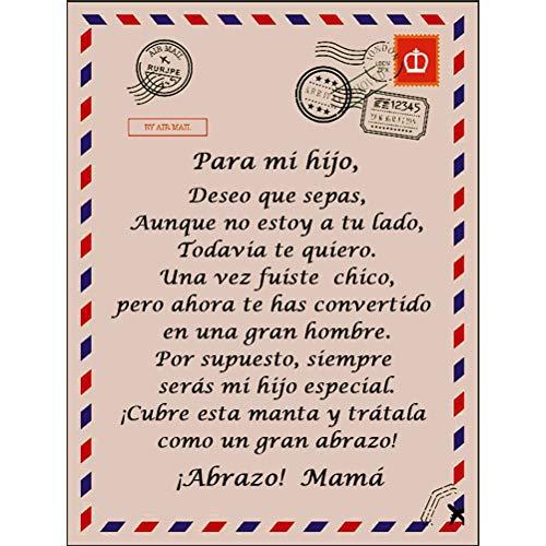 Prevessel Manta de cartas españolas para mi hijo y mi hija Manta de Franela con Estampado Manta de franela súper suave...