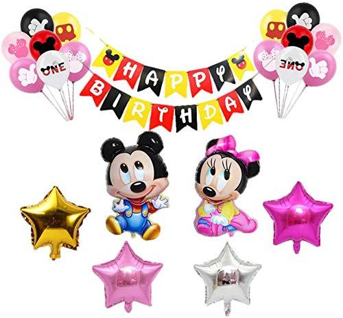 CYSJ Mickey Mouse Themed Decoraciones de Fiesta Artículos para la Fiesta de Minnie Mouse, Pancarta de Feliz Cumpleaños Globos y Adornos para Tartas Corona Decoraciones