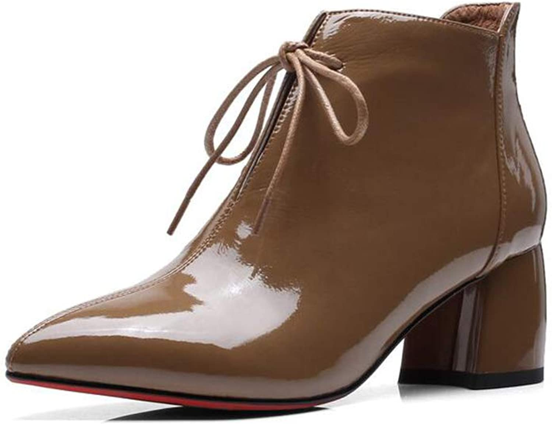 Xiaoolin läder Martin Martin Martin stövlar Pointed Booslipss Lace -up Retro Woherrar stövlar Ankle skor (färg  gul, Storlek  US5  EU35  UK3  CN34)  kostnadseffektiv