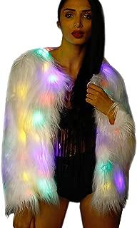Womens Flash Light LED Jacket Girls Faux Fur Light Up Rave Outwear Stage Birthday Fancy Dress Costume LED004