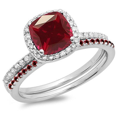 Dazzlingrock Collection - Set de anillo de compromiso de oro de 18 quilates con rubíes y diamantes blancos de corte redondo para mujer. Anillo de compromiso tipo halo