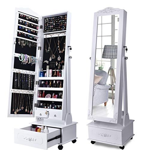 LHY SAVE Gabinete Espejo de Joyería de Pie Espejo Joyero Armario con Cerradura Y con Rueda Armario para Joyas con Cajones,Blanco,45 * 10 * 120cm