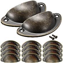 NALCY Vintage deurladegrepen, Cupped handgrepen, ijzeren trekknoppen, kast, retro meubelknoppen, halve cirkel, antieke sch...
