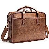 Leather Briefcases for Men 15.6 Inch Business Computer Bag Laptop Bag for Men Water Resistance Vintage Large CapacityTravel Messenger Bag Perfect Bag for Men-Brown