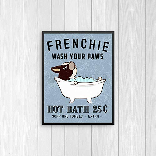 TimPrint French Bulldog Bathroom Wall Decor Frenchie Funny Bathroom Art Print Wall Art Bathroom Signs Bath Quote Wall Art Bathroom Poster Framed Print