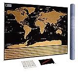 Carte du Monde à gratter XXL avec Drapeaux, détaillée et précise - Cadeau idéal...