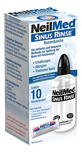 NeilMed Nasendusche hilft bei Erkältungen, verstopfter Nase, einfach anzuwenden, sofort lieferbar mit 10 Portionen Nasenspülsalz