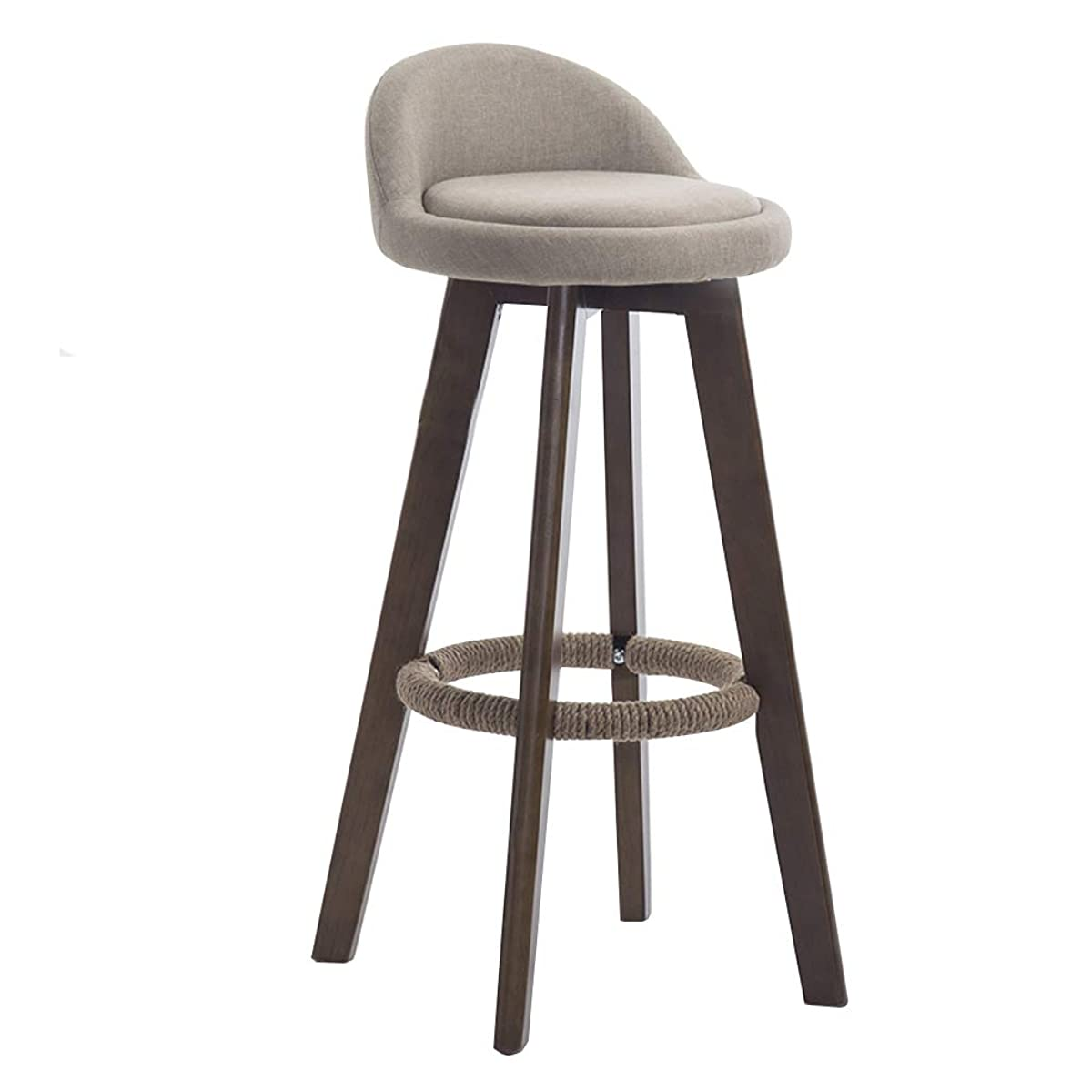 CHY Wooden Bar Stool, 360° Rotation Bar Chair, Burlap Chair Low Back Footstool, Home Kitchen Breakfast Counter High Bench, 4 Colors 63cm/73cm/83cm Simple bar Stool (Color : Beige, Size : 63cm)