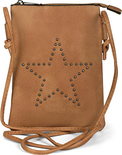 styleBREAKER Mini Bag Umhängetasche mit Nieten in Stern Form, Schultertasche, Handtasche, Tasche, Damen 02012235, Farbe:Cognac