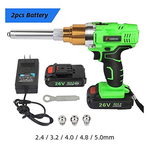 QMLKKC 26V 3000Mah Pistola de Remaches eléctrica inalámbrica portátil Remachadora Recargable Herramienta de Tuerca de Remache extraída Iluminada + Baterías, A, 2 baterías