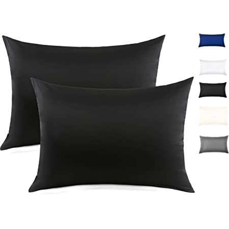 100% Mulberry Silk Pillowcase for Hair and Skin, Both Side 19 Momme Silk with Hidden Zipper,2 Pack (Black, King)