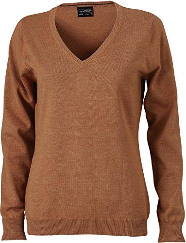 Ladies\' V-Neck Pullover - taillierter Damen V-Neck Pullover M,Camel