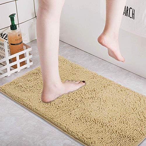 AOI Alfombra de baño de Felpa de Microfibra de Chenilla, Suave y acogedora, Agua súper Absorbente, Antideslizante, Gruesa para Dormitorio de baño (60x40 cm, Caqui)