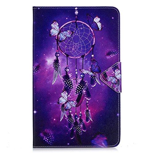JIan Ying Galaxy Tab A6 10.1 Funda de Tableta Patrón a Prueba de Golpes Silicona para Samsung Galaxy Tab A6 10.1 'SM-T580 T585 Con Función de Titular la Tarjeta de Tapa (Campánula morada)