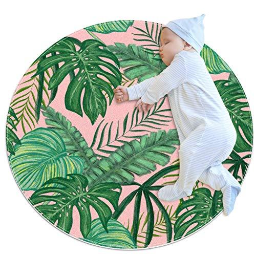 Alfombra lavable niños círculo alfombra niños dormitorio alfombra círculo baño alfombra decorativo baño alfombra tropical hojas verde follaje